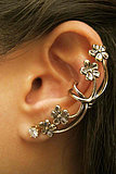 Retro Punk Style Nightclub Exaggerated Flower Ear Clips/PC
