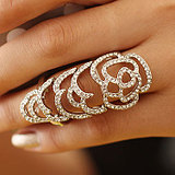 European Fashion Roses Elastic Movable Joints Full Diamond Hollow Ring