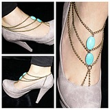 European Fashion Handmade Turquoise Beaded Tassel Multilayer Toe Anklet/pc