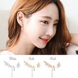 Korean Fashion Asymmetrical Leaves Diamond Ear Clip Earrings