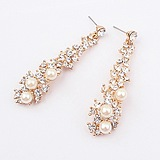 European American Fashion Ladies Temperament Long Section Fine Pearl Earrings