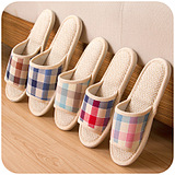England Plaid Linen Indoor Flooring Home Slippers