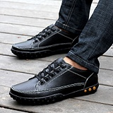 British Casual Genuine Cow Leather Lace Peas Shoes