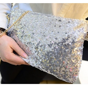 European Fashion Luxury Sequined Makeup Clutch Zipper Wallet Handbags