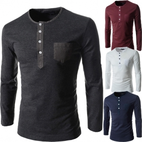 Korean Slim Fit Multi-Button Design Round Neck Long-Sleeved T-Shirt