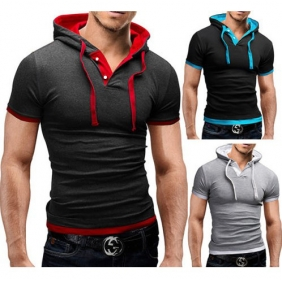 Fashion Casual Personality Stitching Color Hooded Short-Sleeved T-Shirt