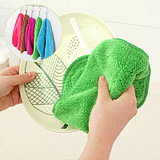 Kitchen Bamboo Fiber Dish Oil Absorbent Cloth Sided Lint-Free Dish Towel