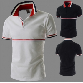 Men's Fashion Personality Stitching Color Short-Sleeved POLO Shirt