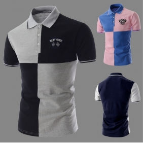 Fashion Personality Stitchig Color Short-Sleeved POLO Shirt