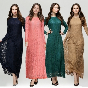 European Style Muslim Ethnic Full Lace Jubah Baju Kurung Dress