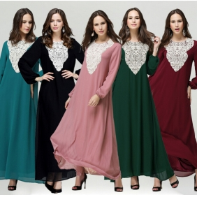 Muslim Women's Ethnic Arab Loose Jubah Baju Kurung Robe Dress