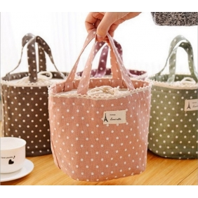 Lovely Sweet Polka Dot Cotton Canvas Insulated Lunch Ice Bag/120ml