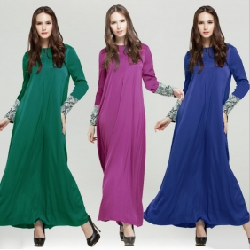 Muslim Clothing Boutique Lace Solid Color Sleeve Jubah Baju Kurung Women Dress