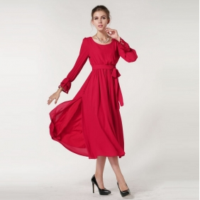 Poppy Red Side Split Covered Buttons Dress