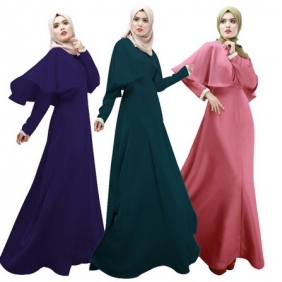 Muslim Women's Solid Color Malay Jubah Baju Kurung Long Cape Dress