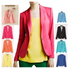 European American Fashion Candy Color One Button Slim Fit Small Suit Jacket