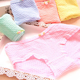 Soft Fresh Flowers Bow Candy Color Breathable Cotton Girl Bubble Briefs Underwear