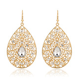European Fashion Hollow Carved Diamond Drop Exaggerated Earrings