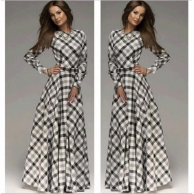 Korean Style Plaid Long Dress