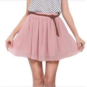 European Women Pleated Double Layer Chiffon Skirt