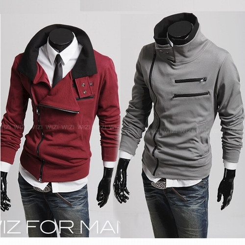Korean Quality Stand-up Collar Men's Double Zipper Design Cardigan Sweater Jacket