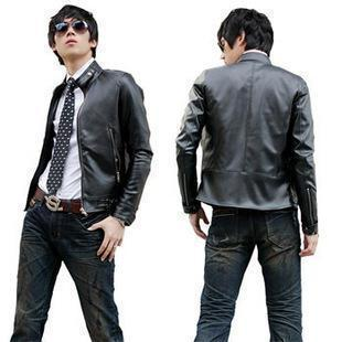 Korean  Men's Stand-Collar Slim Fit Leather Jacket