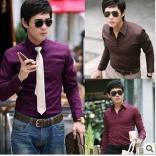 Korean Slim Fit Solid Color Men's Long-Sleeved Shirt