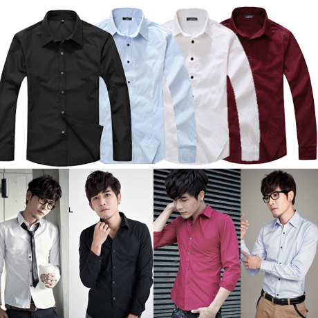 British Style Slim Fit Long-Sleeved Men's Shirt