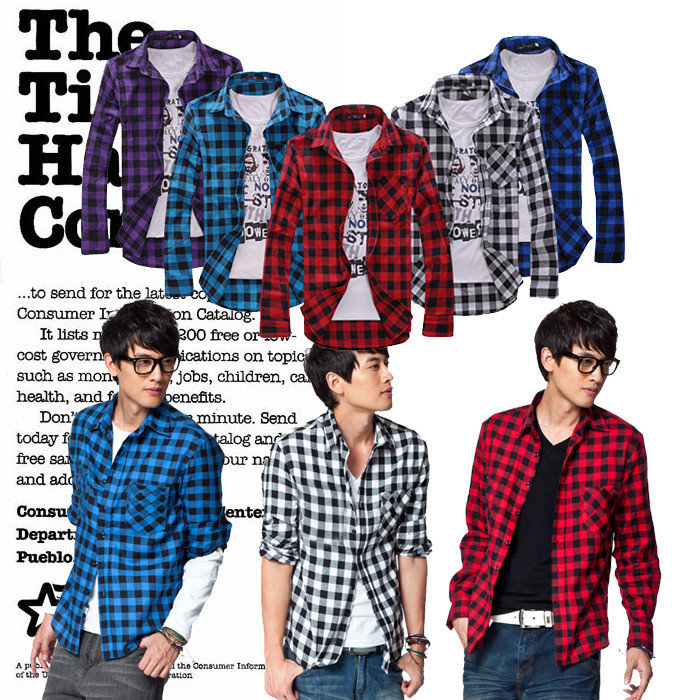 Slim Fit Plaid Men's Casual Long-Sleeved Shirt