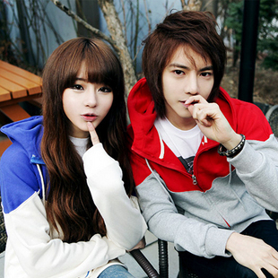 Korean Couple Men casual Slim Fit Thick Long-Sleeved Hooded Cardigan Jacket Sweater