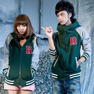 Korean Couple Unisex Hooded R letter Cardigan Sweater Jacket