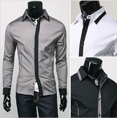 Slim Fit Men's Fake Tie Formal/Casual Long-Sleeved Men's Shirt