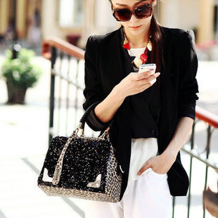 European US Fashion Shoulder Messenger Leopard Sequined Handbags