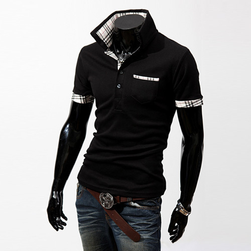 Korean Men's Slim Fit POLO Short Sleeve T-Shirts