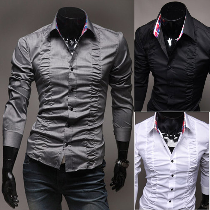 Fashion Palace Chest Fold Design Men's Slim Fit Casual Long-sleeved Shirt