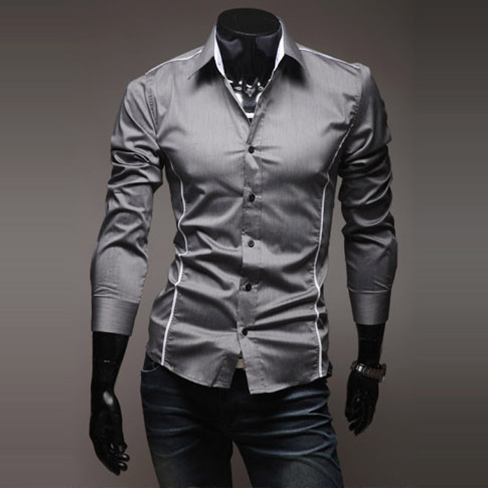 Korean Men's Slim Fit Casual Long-sleeved Shirt