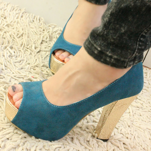 Korean Nightclub Crash of Color Waterproof Fish Head High Heels Shoe
