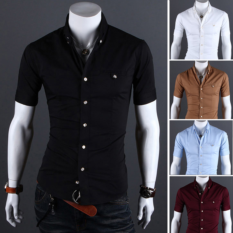 Korean Men's Slim Fit Solid Color Short-sleeved Shirt