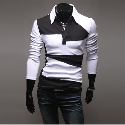 Korean Men's Casual Long-Sleeved Crash of Color  Long-Sleeved Polo T-Shirt
