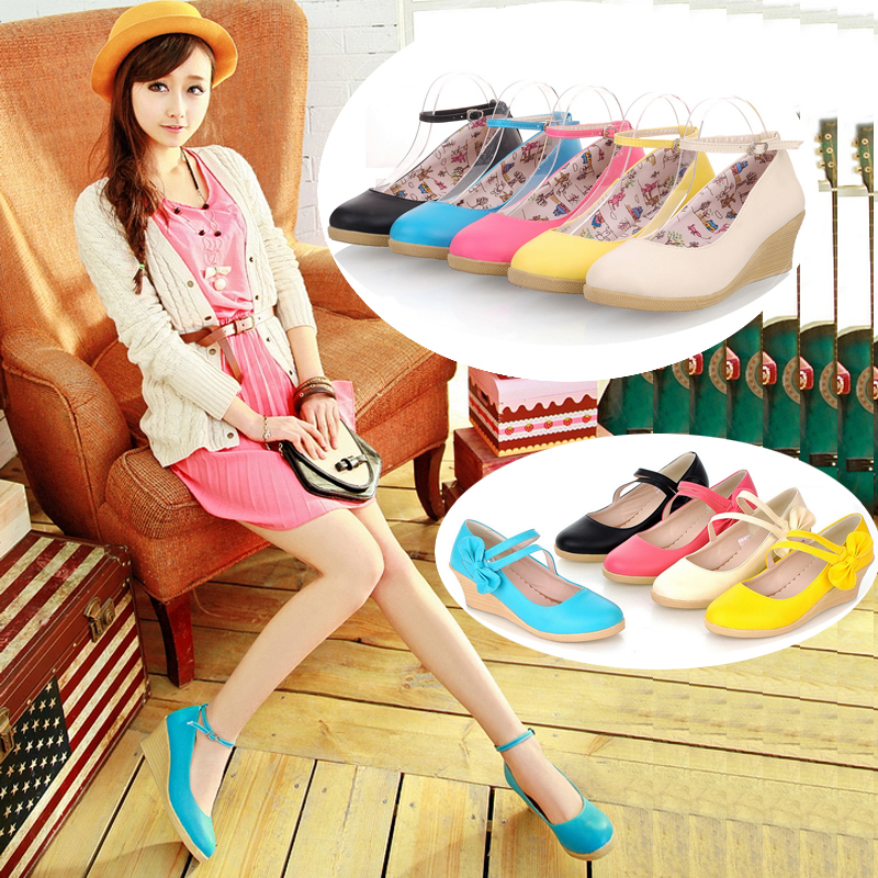 Korean Princess Bow Buckle  High Heel Women Shoes