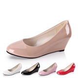 Korean Patent Leather Women Wedge Heel Shoes