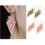 Fashion Punk Style Fluorescent Color Triangle Flash Diamond Earrings