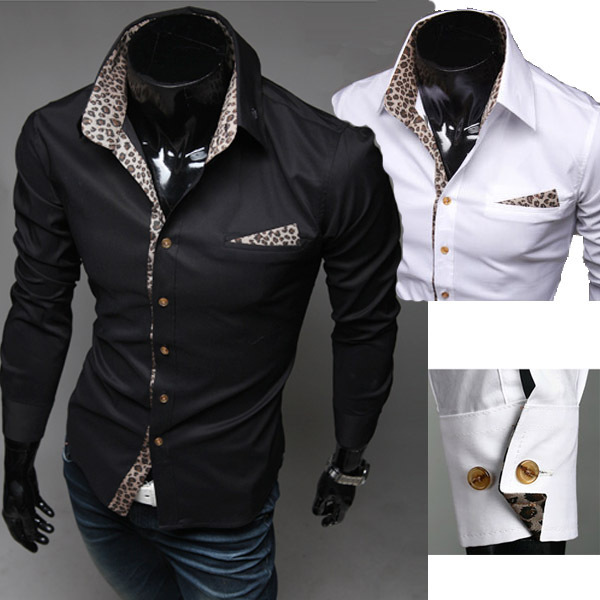 Korean Men's Long-Sleeved Personalized Leopard Collar Lining Shirt