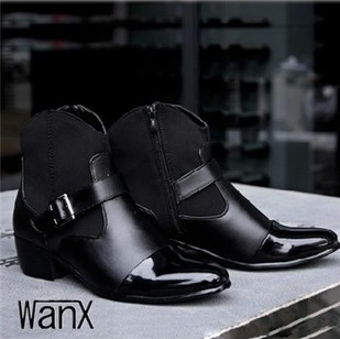 British Style High-Top Leather Pointed Boots Shoe