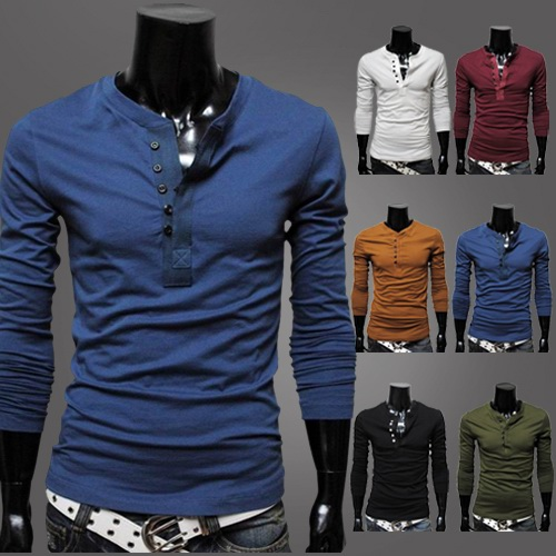 Korean Exquisite Placket Solid Backing Slim Fit POLO Long-Sleeved T-Shirt