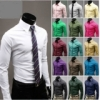 Korean Men's Casual Fashion Solid Candy Colored Long-Sleeved Shirt