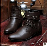 Korean Men's Pointed High-Heeled Boots Shoe