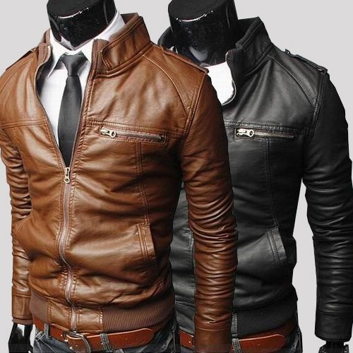 Korean Fashion Slim Fit Leather Collar Casual Men  Washed PU Leather Motorcycle Jacket