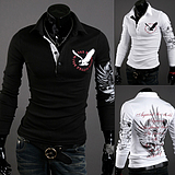 European Eagle Tattoos Men Cultivating Long-Sleeved POLO T-Shirt
