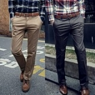 Men's Casual Straight Solid Color Trousers Pants
